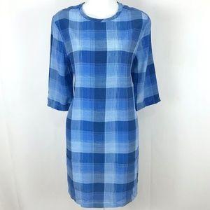 Equipment Femme 100% Silk Blue Plaid shift dress